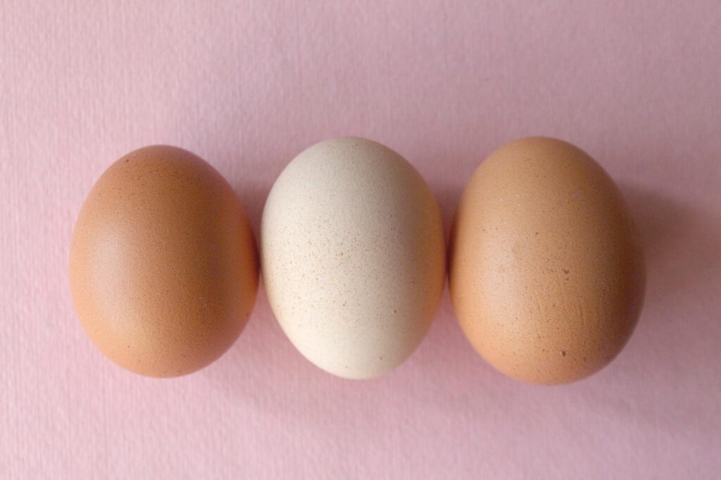 Two brown eggs and one white speckled egg in a line resting on a pink cloth